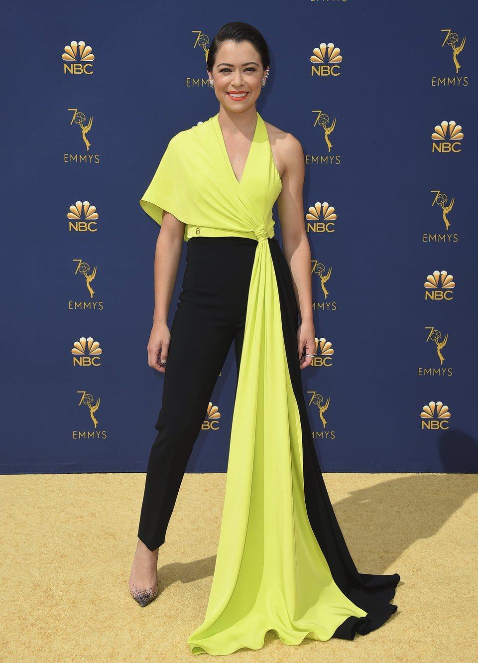 Tatiana Maslany on the red carpet at the Emmys 2018