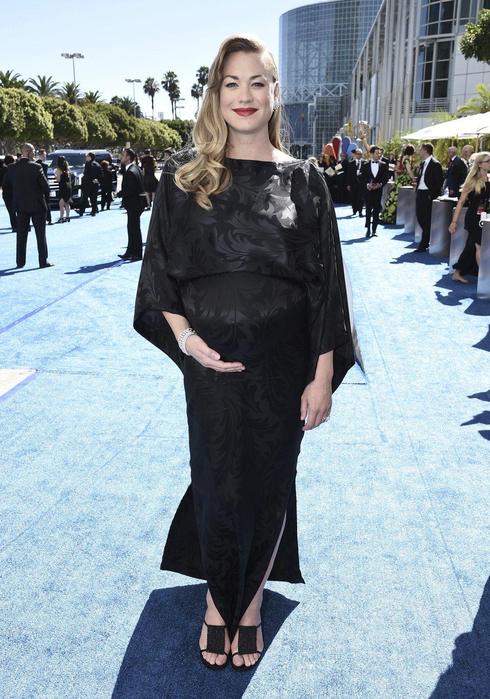 Yvonne Strahovski on the red carpet at the Emmys 2018