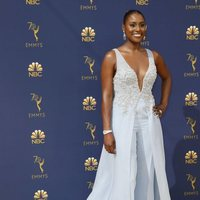 Issa Rae on the red carpet at the Emmys 201