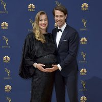 Yvonne Strahovski and Tim Loden at the Emmys 2018 red carpet