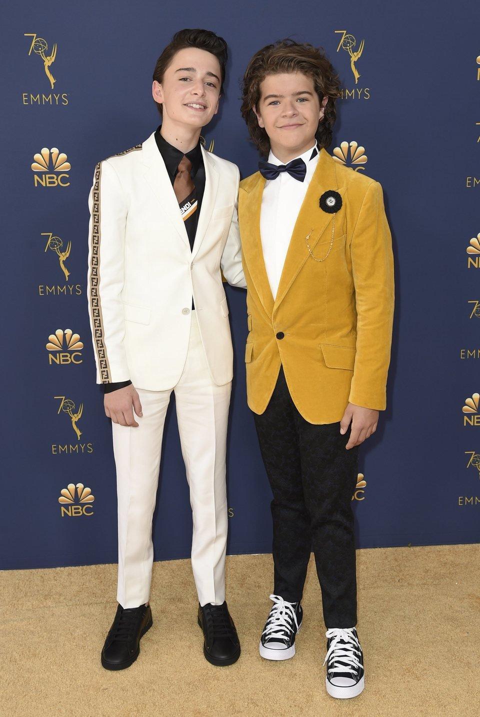 Gaten Matarazzo and Noah Schnapp at the Emmys 2018