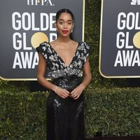 Laura Harrier at the Golden Globes 2019 red carpet