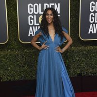 MJ Rodriguez at the Golden Globes 2019 red carpet