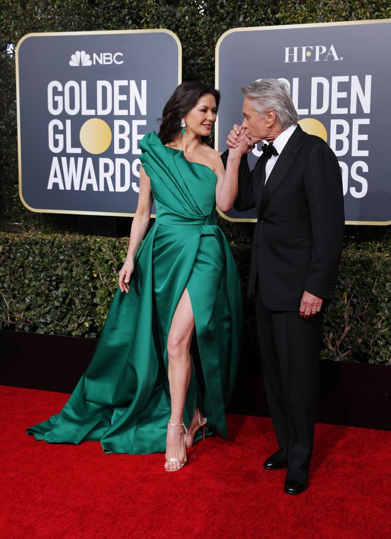 Catherine Zeta Jones and Michael Douglas at the Golden Globes 2019 red carpet