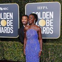Michael B. Jordan and Lupita Nyong'o at the Golden Globes 2019 red carpet