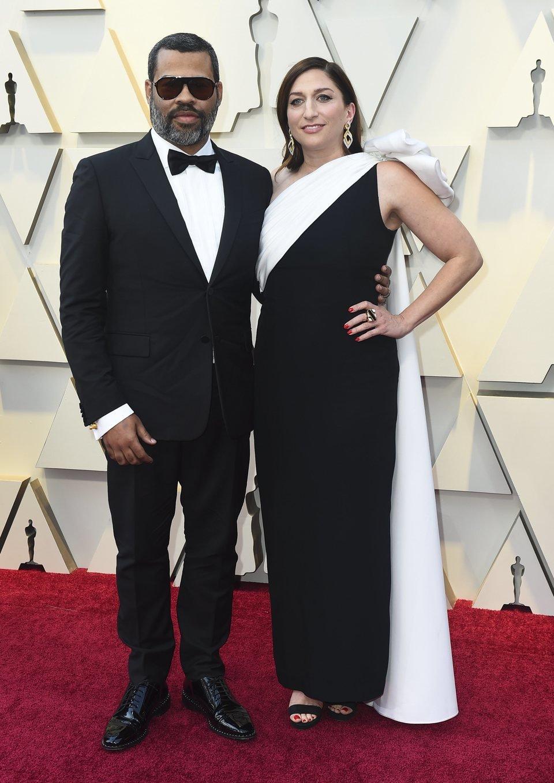 Jordan Peele and Chelsea Peretti at the 2019 Oscars