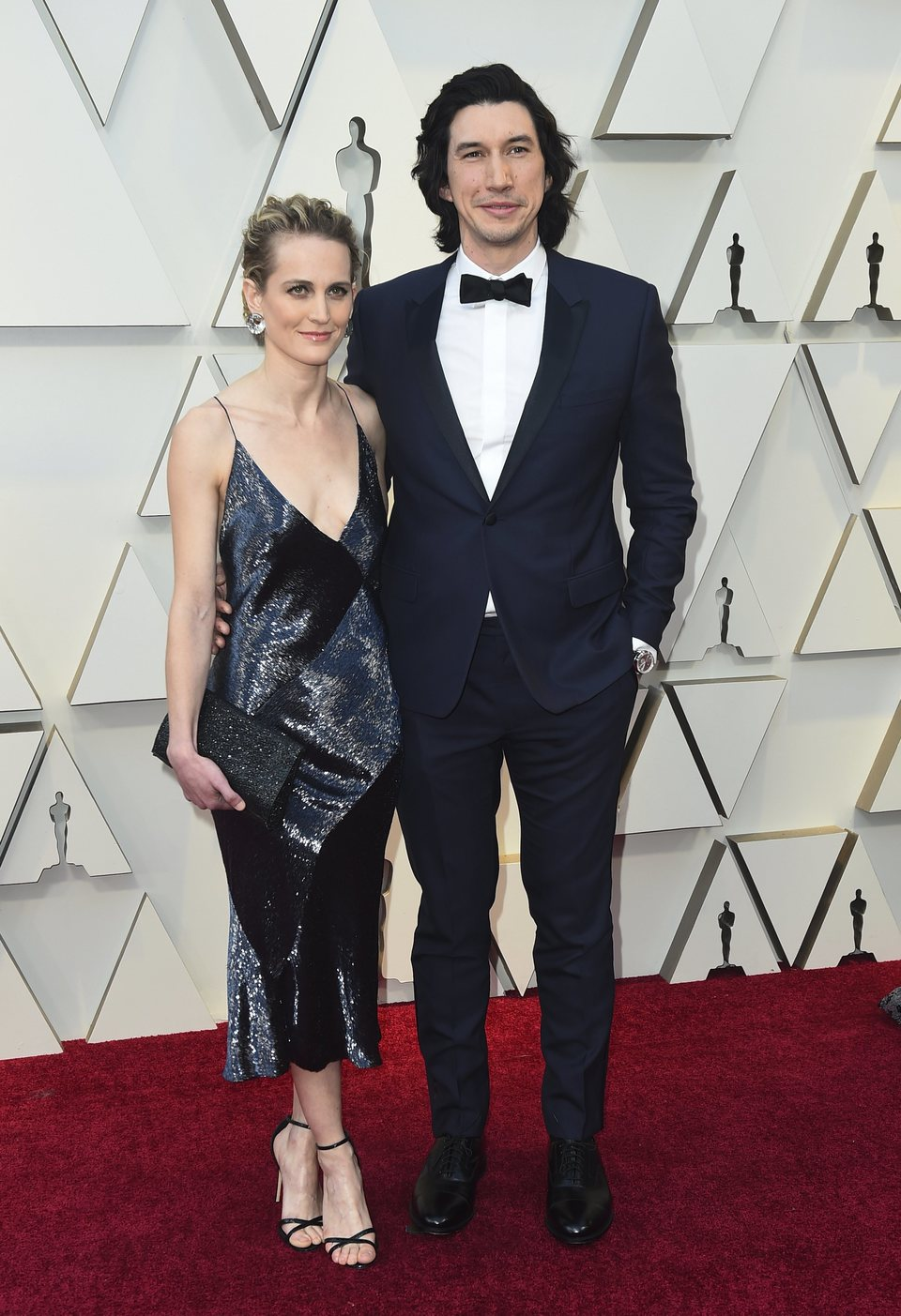 Adam Driver and Joanne Tucker on the red carpet at the Oscars 2019