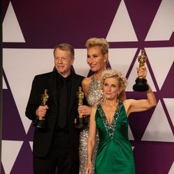 Oscars winner for Best Makeup and Hairstyling for 'Vice' pose with their Oscars