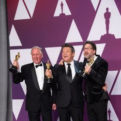 Oscar winners for Best Sound Mixing for 'Bohemian Rhapsody' poses with their Oscars