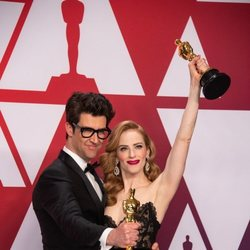 Oscar winners for Best Live Action Short Film for 'Skin' poses with their Oscars