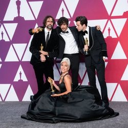 Oscar winners for Best Original Song for 'Shallow' pose with their Oscars