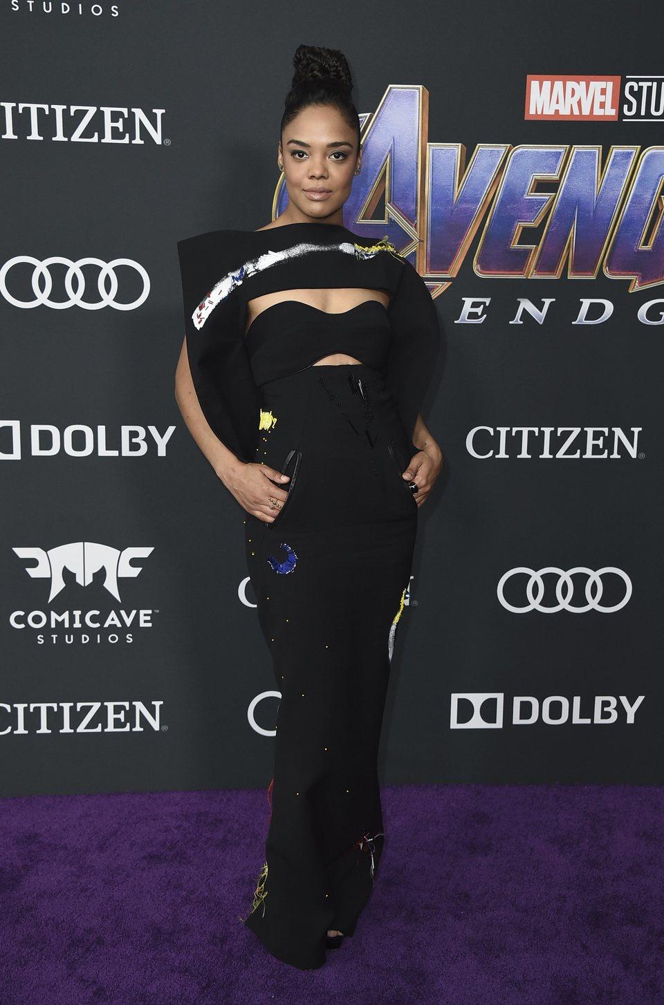 Tessa Thompson on the red carpet of 'Avengers: Endgame'