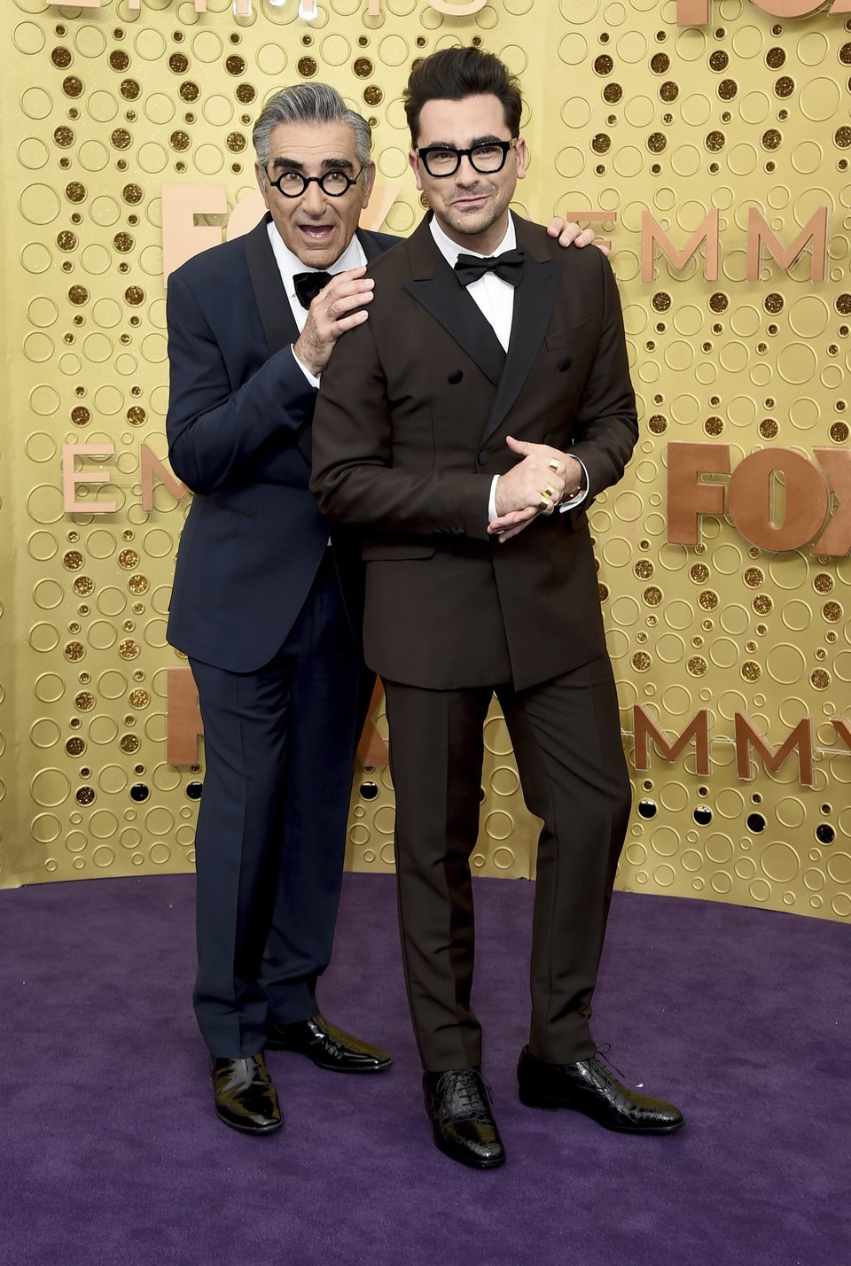 Eugene Levy and Dan Levy at the Emmy 2019 red carpet