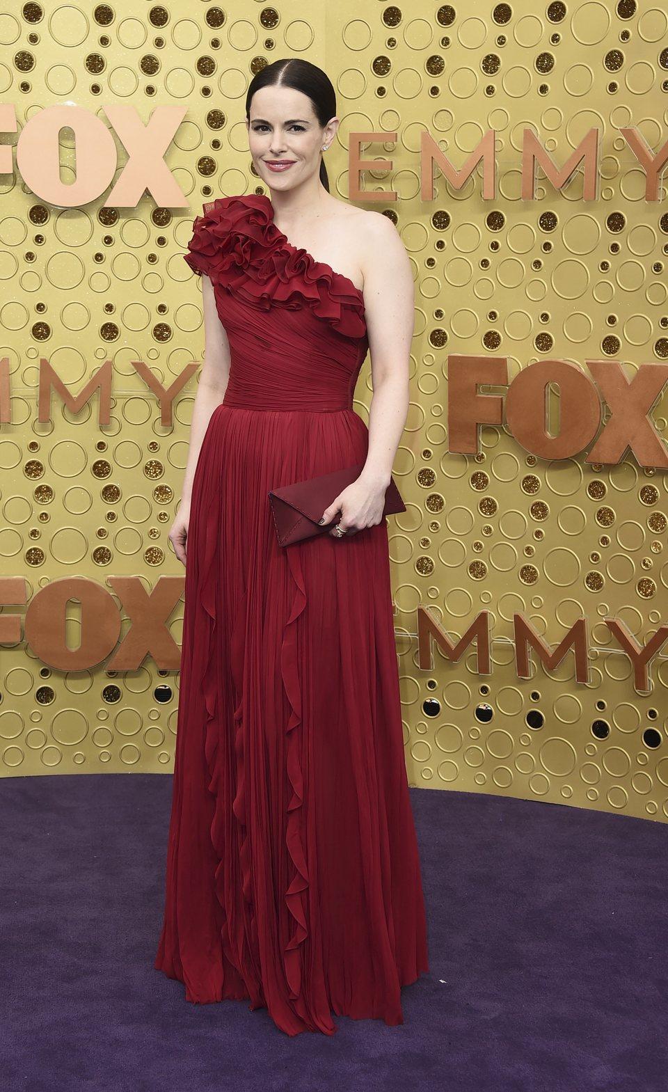 Emily Hampshire arrives at the 71st Primetime Emmy Awards