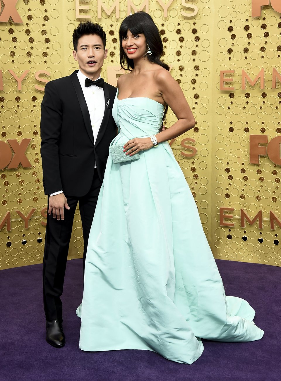 Manny Jacinto and Jameela Jamil at the Emmy 2019 red carpet