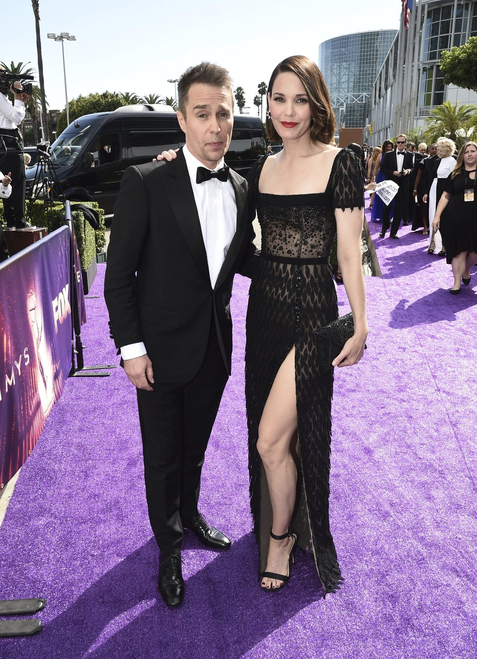 Sam Rockwell and Leslie Bibb at the Emmy 2019 red carpet