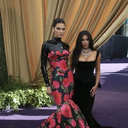 Kendall Jenner and Kim Kardashian at the Emmy 2019 red carpet