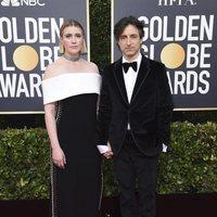 Greta Gerwig and Noah Baumbach at the Golden Globes 2020 red carpet