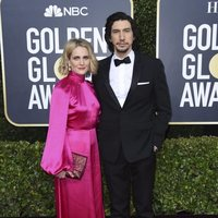 Adam Driver y Joanne Tucker at the Gloden Globes 2020 red carpet