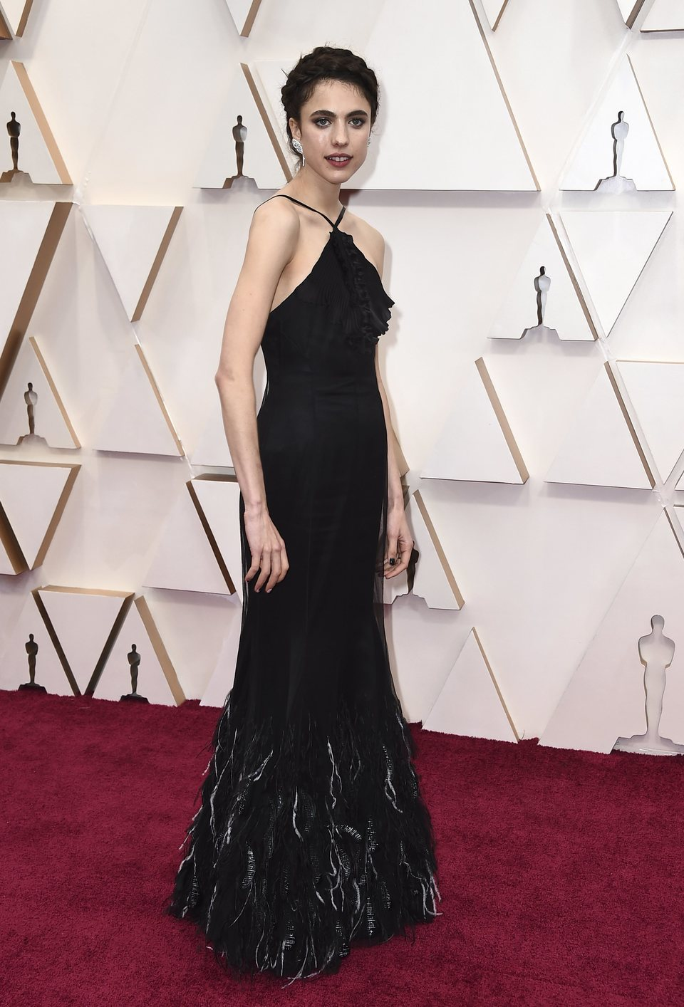 Margaret Qualley on the red carpet at the 2020 Oscar Awards