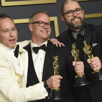 Jonas Rivera, Mark Nielsen and Josh Cooley with their Oscars to Best Animated Feature Film for 'Toy Story 4'