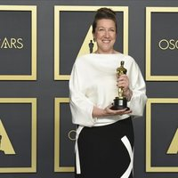 Jacqueline Durran with her Oscar Award for Best Achievement in Costume Design