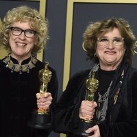 Nancy Haigh and Barbara Ling with their Oscar to Best Production Design for 'Once Upon a Time... in Hollywood'