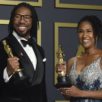 Matthew A. Cherry and Karen Rupert Toliver with their Oscar for Best Animated Short Film