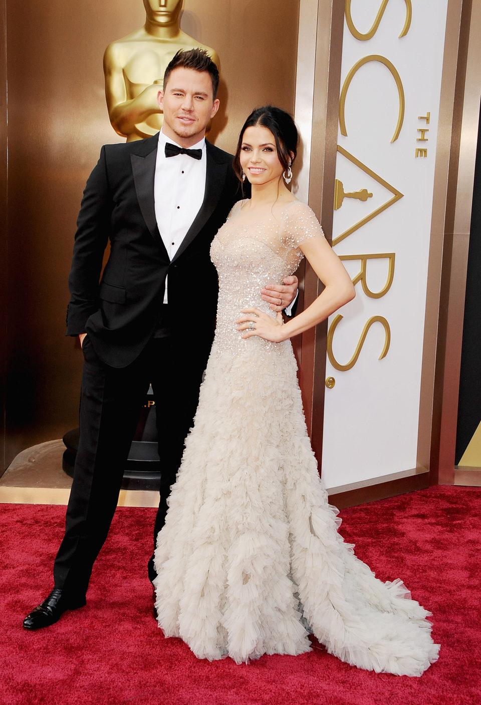 Channing Tatum and Jenna Dewan-Tatum on the red carpet at the 2014 Oscars