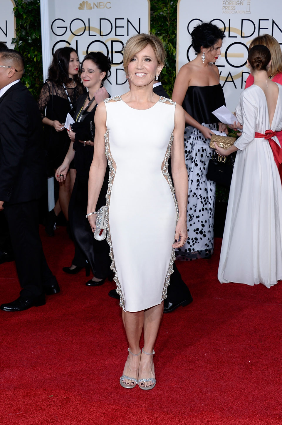 Felicity Huffman at the Golden Globes 2015 red carpet