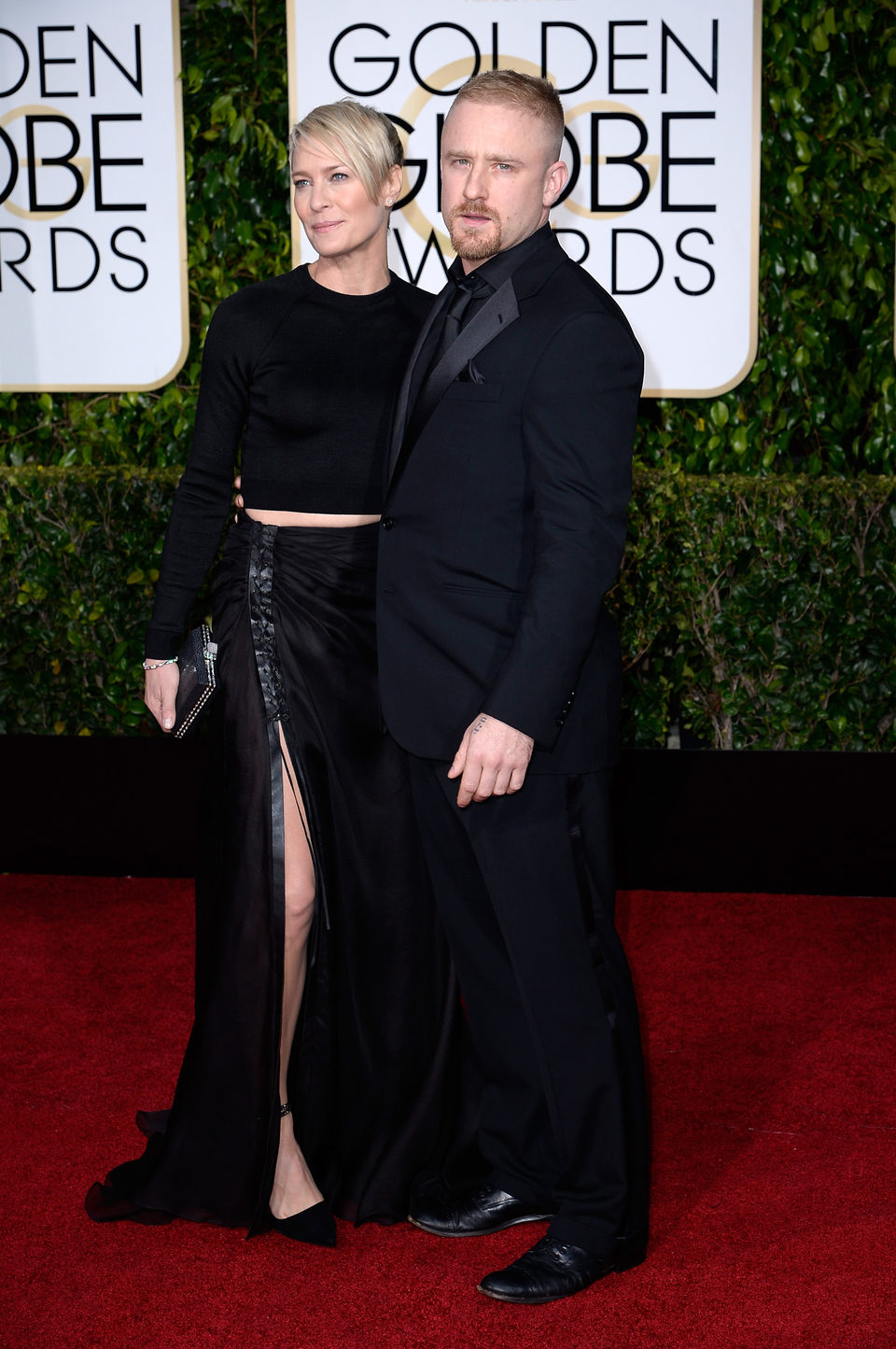 Robin Wright and Ben Foster at the Golden Globes 2015 red carpet