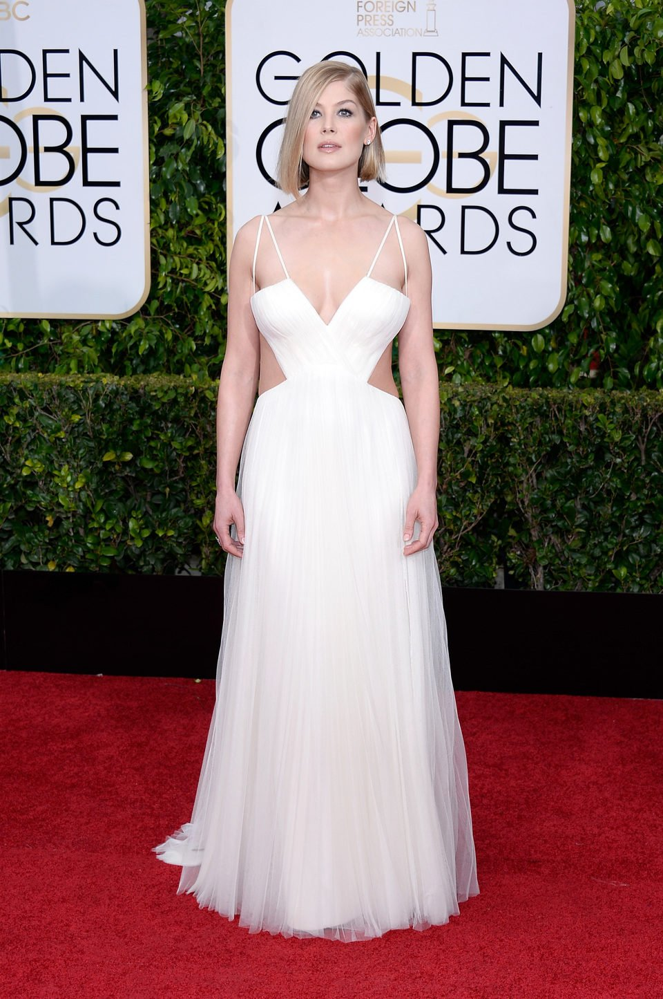 Rosamund Pike at the Golden Globes 2015 red carpet