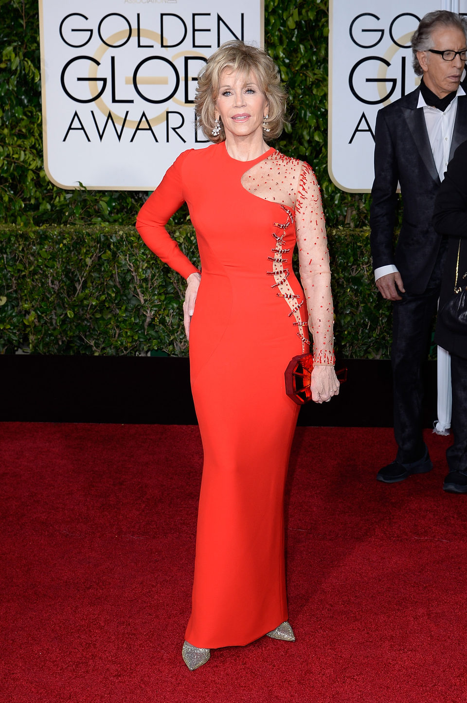 Jane Fonda at the Golden Globes 2015 red carpet