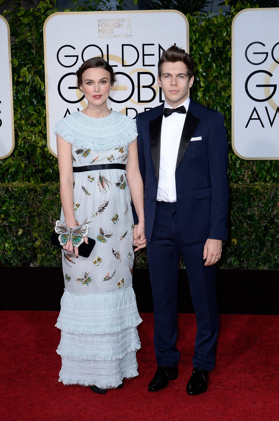Keira Knightley and James Righton at the Golden Globes 2015 red carpet