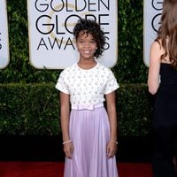 Quvenzhané Wallis at the Golden Globes 2015 red carpet