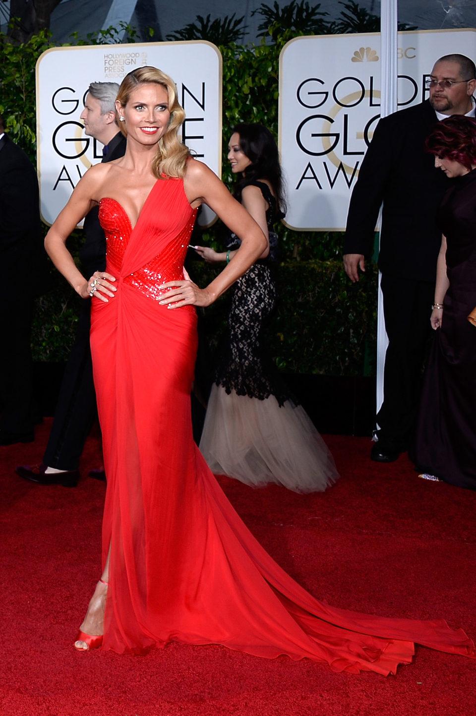 Heidi Klum at the Golden Globes 2015 red carpet