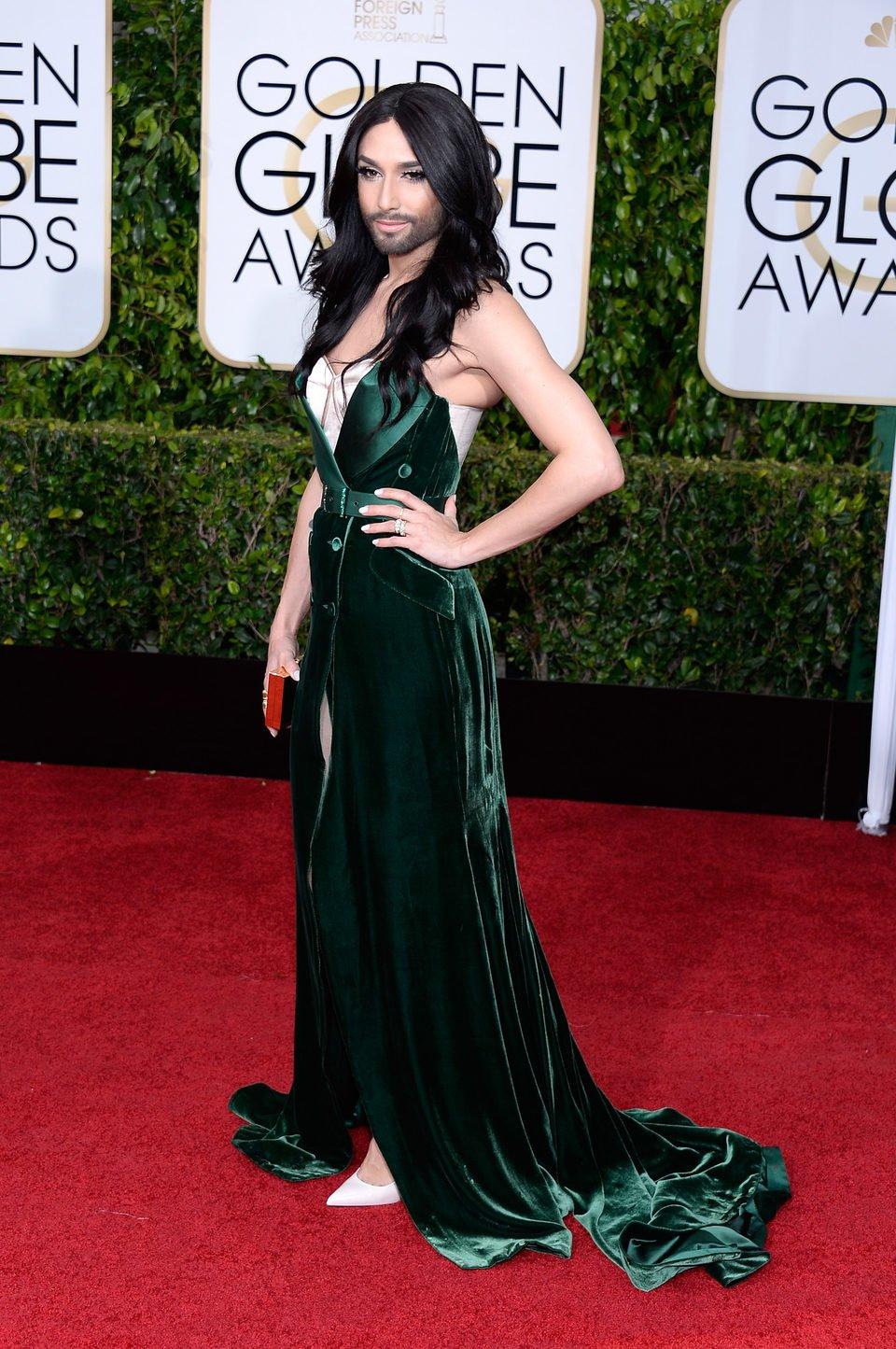 Conchita Wurst at the Golden Globes 2015 red carpet