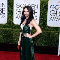 Conchita Wurst at the Golden Globes 2015 red carpet