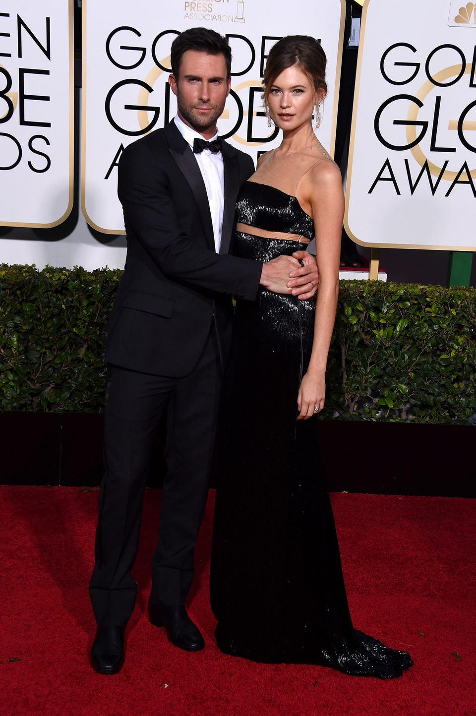 Adam Levine and Behati Prinsloo at the Golden Globes 2015 red carpet