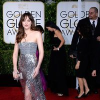 Dakota Johnson at the Golden Globes 2015 red carpet