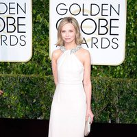 Calista Flockhart at the Golden Globes 2015 red carpet