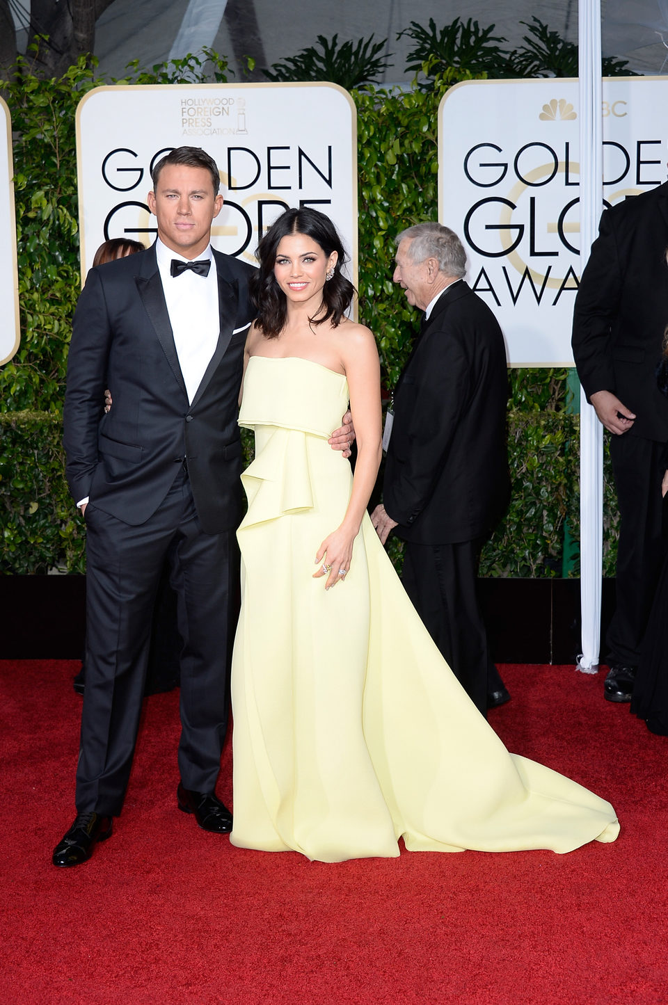 Channing Tatum and Jenna Dewan at the Golden Globes 2015 red carpet