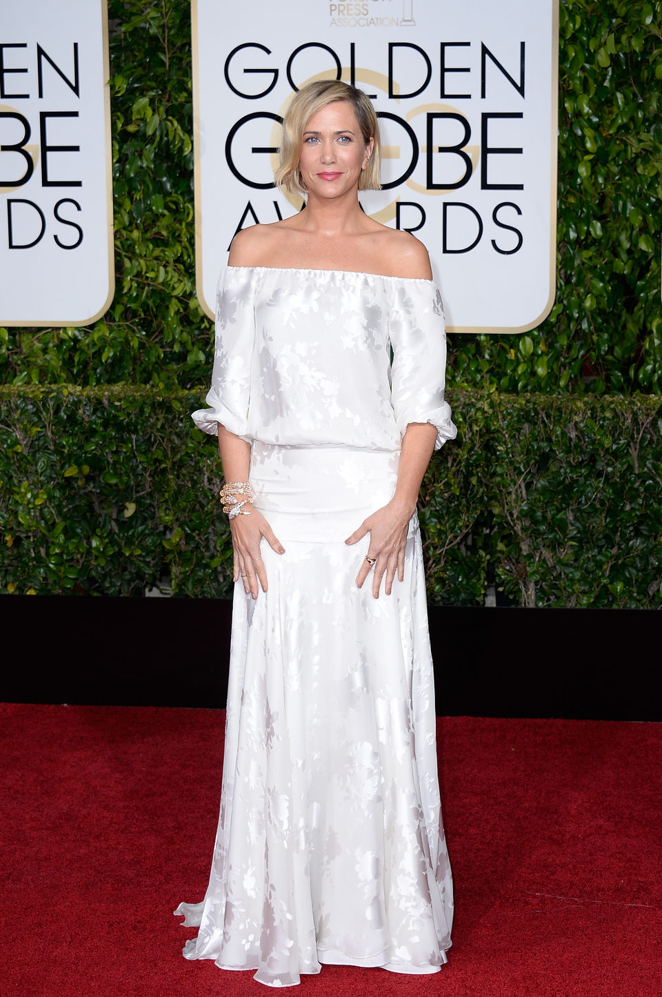 Kristen Wiig at the Golden Globes 2015 red carpet