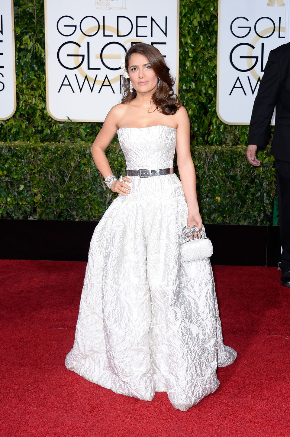 Salma Hayek at the Golden Globes 2015 red carpet