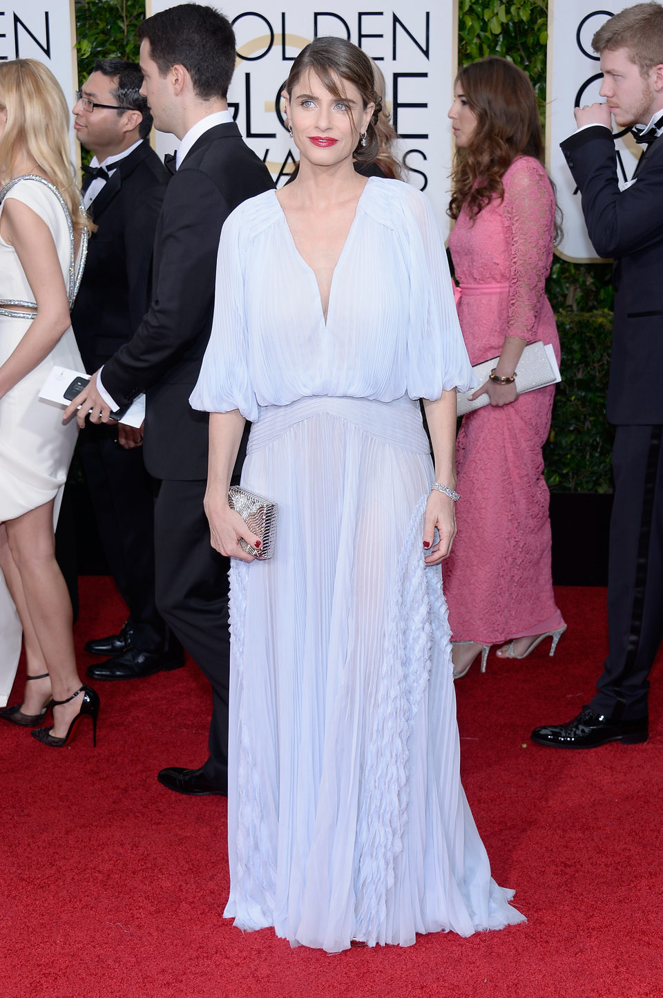 Amanda Peet at the Golden Globes 2015 red carpet