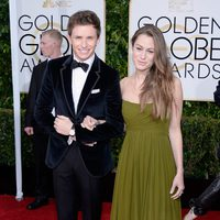 Eddie Redmayne and Hannah Bagshawe at the Golden Globe 2015 red carpet