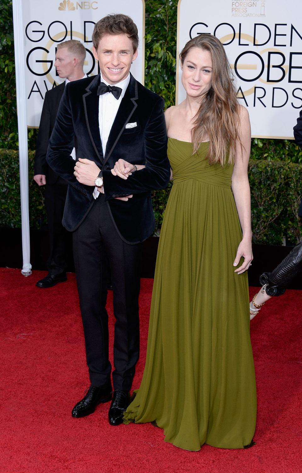 Eddie Redmayne and Hannah Bagshawe at the Golden Globe 2015 red carpet