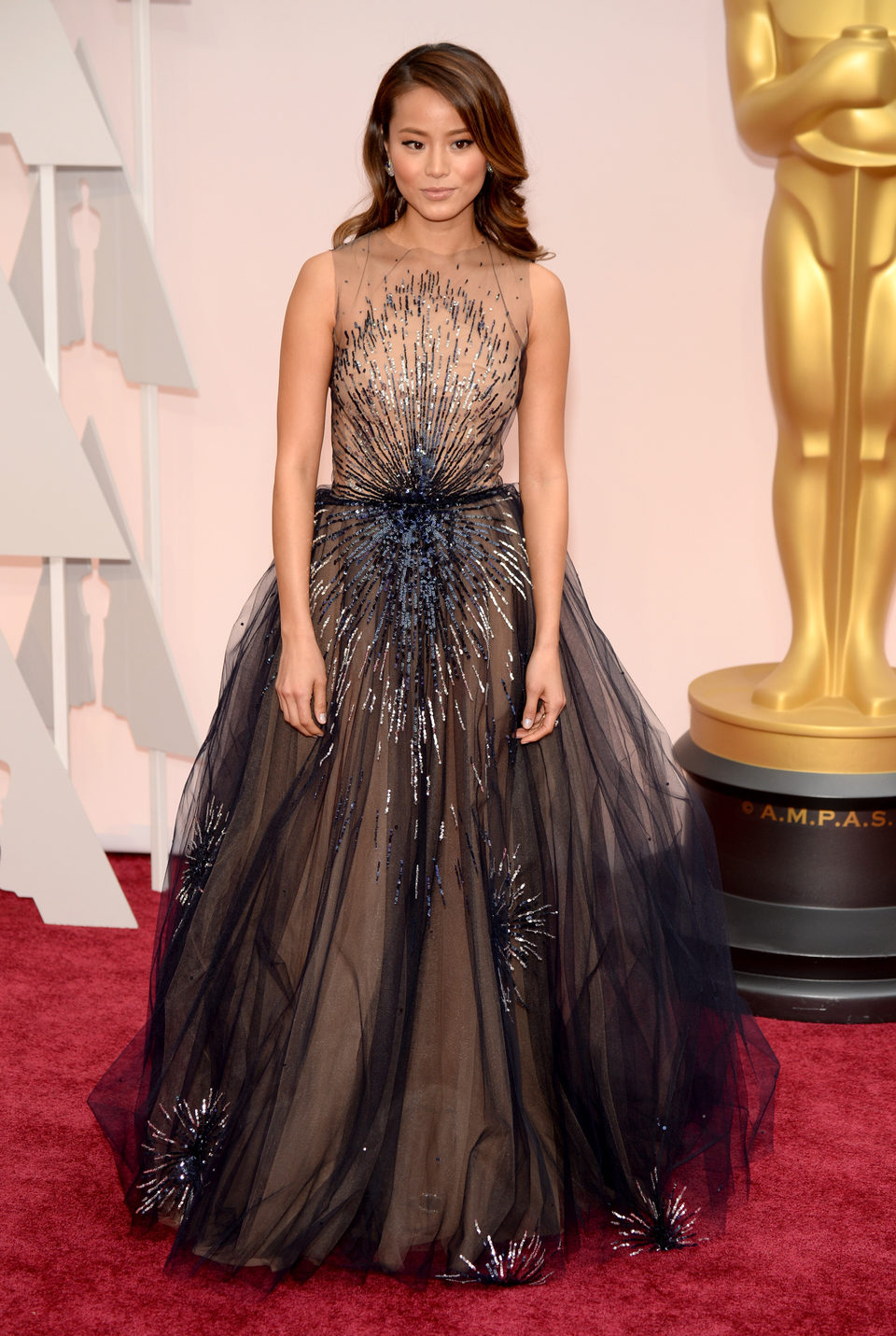 Jamie Chung at the Oscars Awards 2015 red carpet