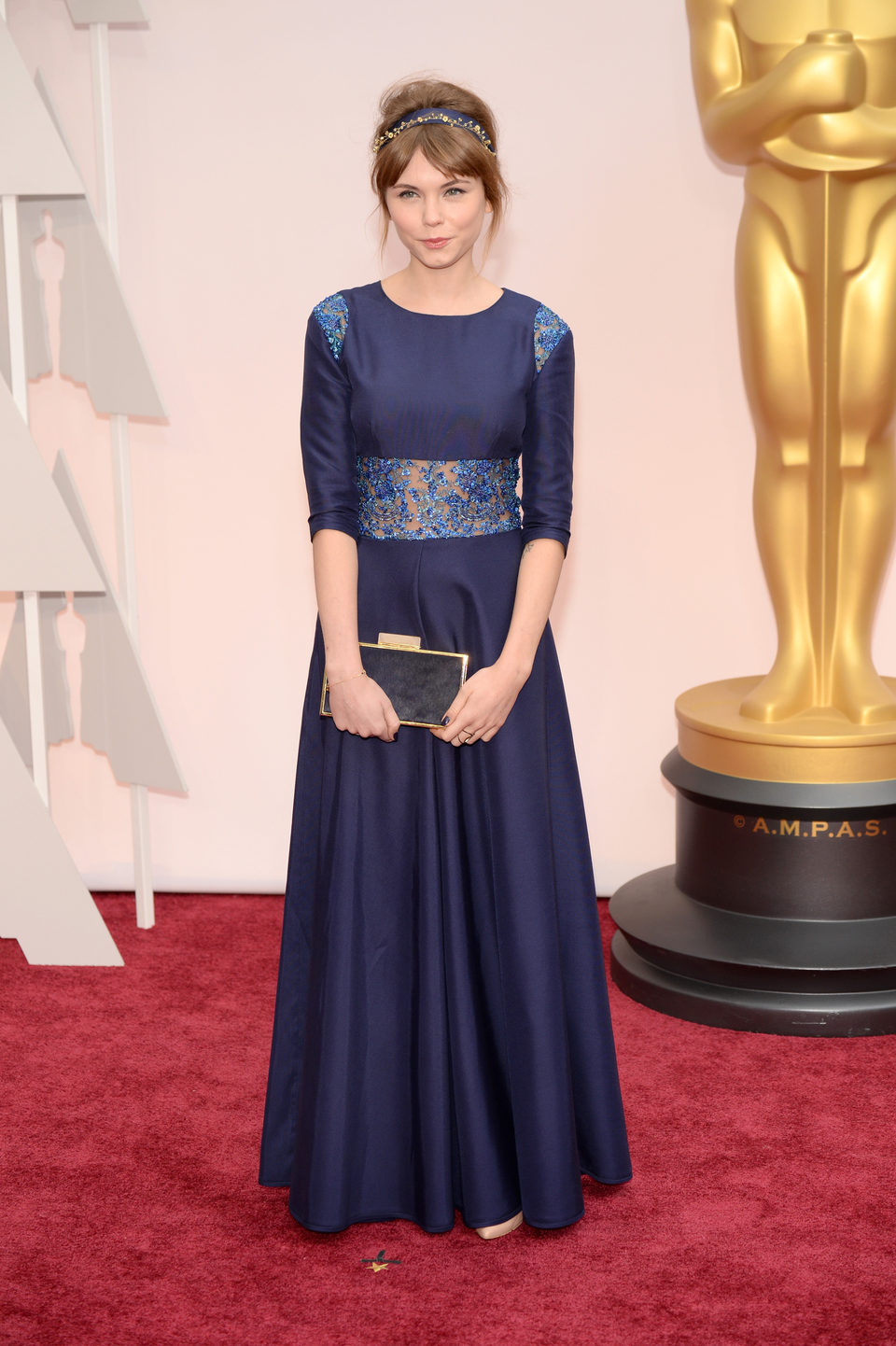 Agata Trzebuchowska at the Oscars Awards 2015 red carpet