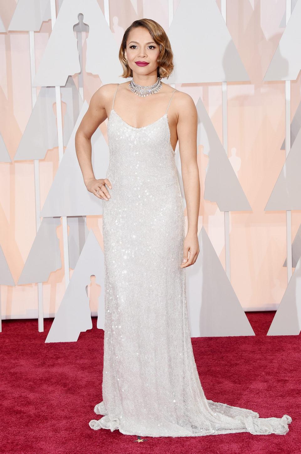 Carmen Ejogo at the Oscars Awards 2015 red carpet